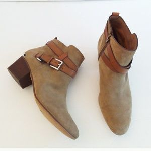 Authentic Coach Taupe Suede Leather Strap Booties